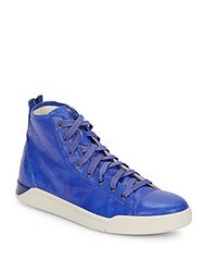 Diesel Tempus Diamond Flatform Leather Sneakers Blue Gunmetal