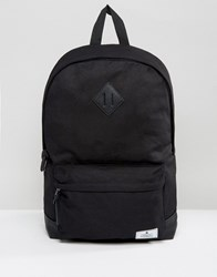 Asos Backpack In Black Canvas With Faux Leather Base Black