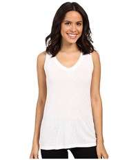 Michael Stars Slub Vee Neck Tank Top White Women's Sleeveless