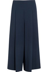 The Row Loja Cropped Stretch Cady Wide Leg Pants Navy