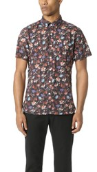 Todd Snyder Short Sleeve Floral Print Shirt Brown