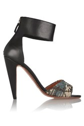 M Missoni Leather And Metallic Crochet Knit Sandals Multi