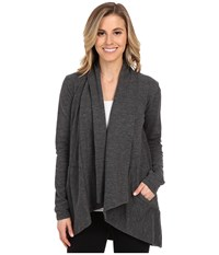 Lucy Tranquility Slub Wrap Asphalt Heather Women's Sweater Gray