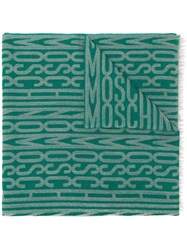 Moschino Vintage Frayed Logo Scarf Green