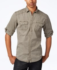 Inc International Concepts Men's Raised Plaid Shirt Only At Macy's Taupe