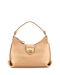Fanisa Pebbled Gancini Hobo Bag Sable Salvatore Ferragamo