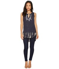 Scully Nonie High Low Tank Top Blue Sleeveless