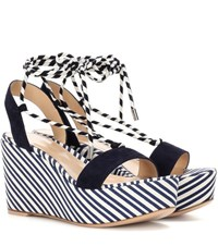 Gianvito Rossi Antibes Mid Suede Wedge Sandals Blue