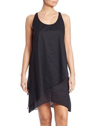 Michael Kors Solids Layered Cover Up Dress Black
