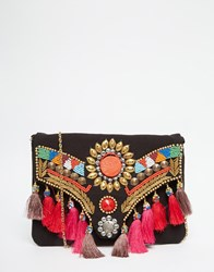 Glamorous Foldover Clutch Bag With Tassels And Beading Black Embroidery Multi