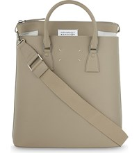 Maison Martin Margiela Grained Leather Tote Khaki