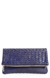 Sole Society Kaya Crossweave Clutch Blue Cobalt