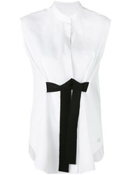 Moncler Gamme Rouge Bow Tie Sleeveless Tank Women Cotton 0 White