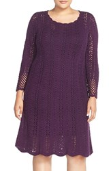 Plus Size Women's London Times Crochet A Line Dress Amethyst