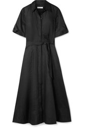 Equipment Irenne Belted Linen Dress Black