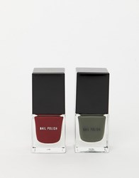 New Look 2 Pack Nail Varnish In Khaki And Dark Red Clear