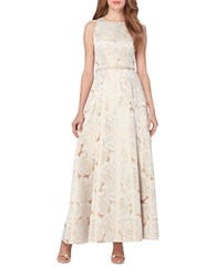 Tahari By Arthur S. Levine Floral Jacquard Gown Ivory