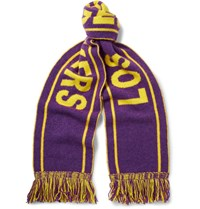 The Elder Statesman Nba Lakers Fringed Intarsia Cashmere Scarf Purple