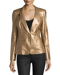 Lafayette 148 New York Leather One Button Jacket Copper Brown