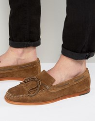 Hudson H By Manuel Suede Loafers Tan