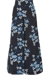 Johanna Ortiz Dream State Floral Print Silk Crepe De Chine Wide Leg Pants Navy