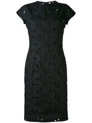 Aspesi Embroidered Floral Dress Women Cotton Polyester Viscose 46 Black