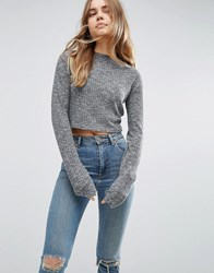 Asos Top With Super Long Sleeves On Textured Rib Grey