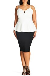 City Chic Plus Size Women's 'Sexy Split' Sweetheart Neck Peplum Top Ivory