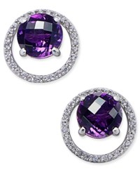 Macy's Amethyst 1 1 2 Ct. T.W. And Diamond 1 6 Ct. T.W. Round Halo Stud Earrings In Sterling Silver