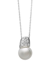 Belle De Mer 14K White Gold Necklace Cultured Freshwater Pearl 9Mm And Diamond 1 6 Ct. T.W. Wave Pendant Black