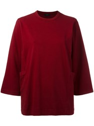 Joseph Cropped Sleeves Jumper Red