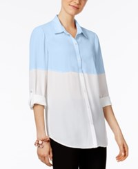 Ny Collection Colorblocked Shirt Chambray Blue Bright White