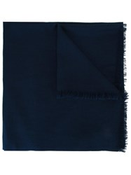Cruciani Raw Edge Scarf Blue