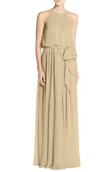 Women's Donna Morgan 'Alana' Chiffon Halter Style Gown Champagne
