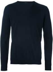 Roberto Collina V Neck Knitted Sweater Blue