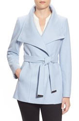 Women's Ted Baker London 'Paria' Short Wool Blend Wrap Coat Light Blue