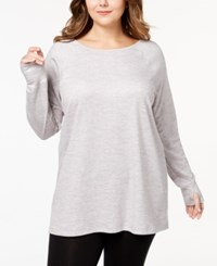 Ideology Thumbhole Cuff Tunic Created For Macy's Grey Multi Heather