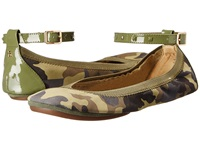 Yosi Samra Abbey Washed Camo Leather Flat Limette Women's Flat Shoes Olive