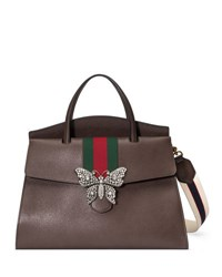 Gucci Linea Totem Large Leather Top Handle Bag With Butterfly And Web Strap Dark Brown