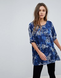 Rock And Religion Floral Print Tunic Top Navy Print