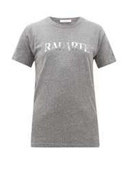 Rodarte Heather Logo Print Jersey T Shirt Grey Multi
