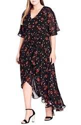 City Chic Plus Size Women's Fall In Love Floral Maxi Dress Black