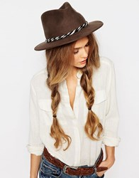 Brixton Felt Fedora With Twisted Cotton Band Brown
