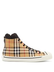 Burberry Kilbourne Vintage Check High Top Canvas Trainers Tan Multi