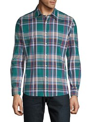Hyden Yoo Tartan Cotton Button Down Shirt Blue Aqua Plaid