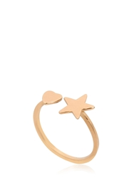 Saint Laurent Star And Heart Gold Plated Silver Ring