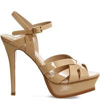 Office Nostalgia Patent Leather Heeled Sandals Nude Patent Leather