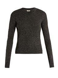 Saint Laurent Long Sleeved Ribbed Knit Lurex Sweater Silver