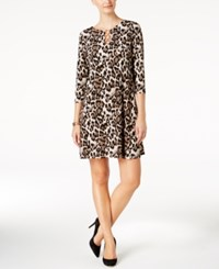 Msk Printed Ring Keyhole Dress Black Cream