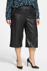Eloquii Studio Faux Leather Culottes Plus Size Black